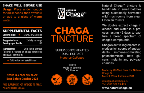Chaga Tinctuur – Dual Extract 100 ml